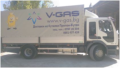 V-gas vehicle for cilinders